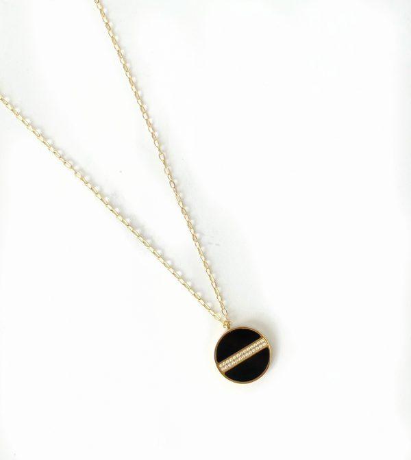 Made by Mila   Ketting amulet shiny onyx - ZAG Bijoux 1