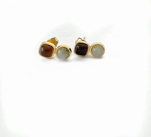 Made by Mila | Oorbellen goud met grijs bruine steentjes- ZAG Bijoux 1