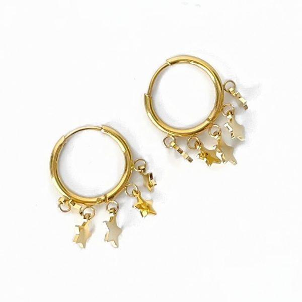 Made by Mila   Oorbellen ringetje met sterretjes steentjes- ZAG Bijoux 1