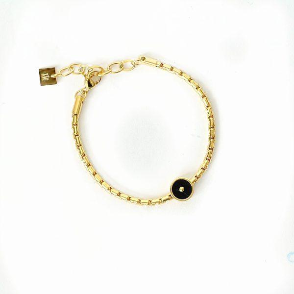 Made by Mila   Armband goud schakels onyx- ZAG Bijoux 1