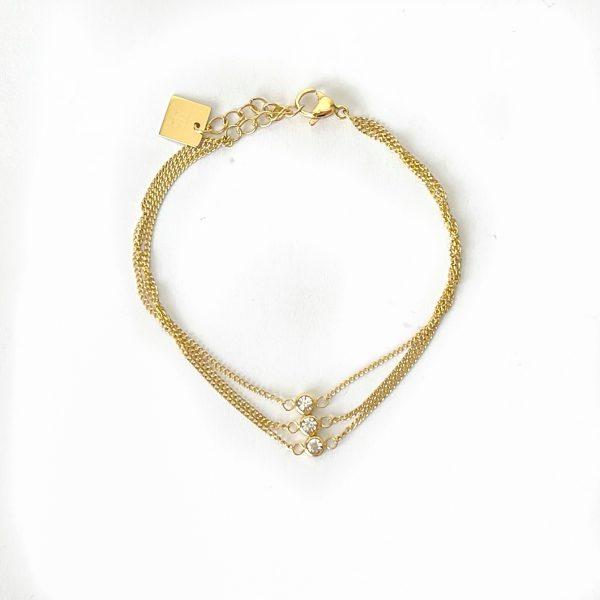 Made by Mila   Armband goud 3 dubbel zirkonia- ZAG Bijoux 1
