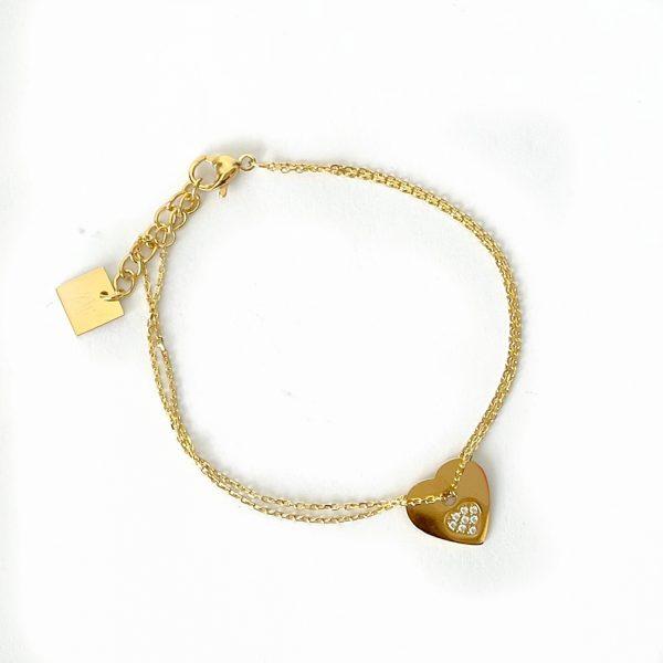 Made by Mila   Armband goud hartje zirkonia- ZAG Bijoux 1