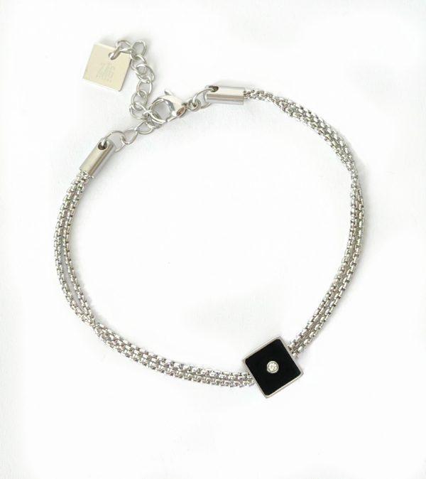 Made by Mila | Armband zilver vierkant onyx- ZAG Bijoux 1