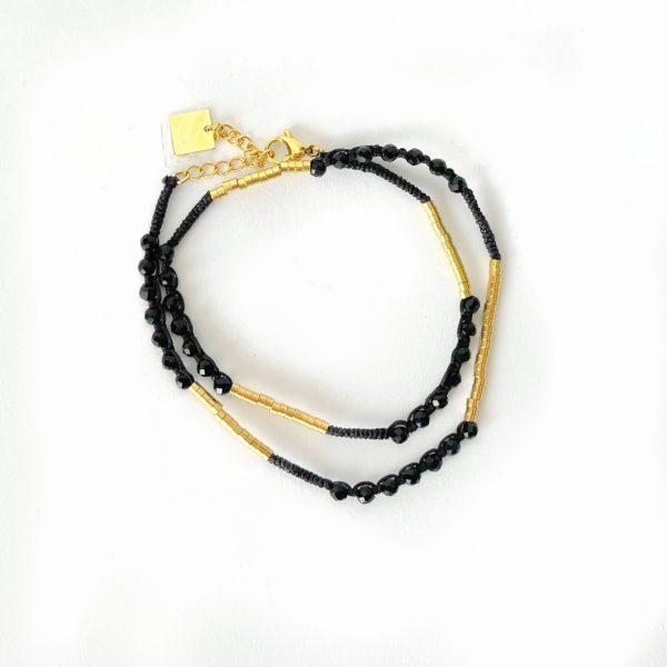 Made by Mila   Armband goud zwart dubbel - ZAG Bijoux 1