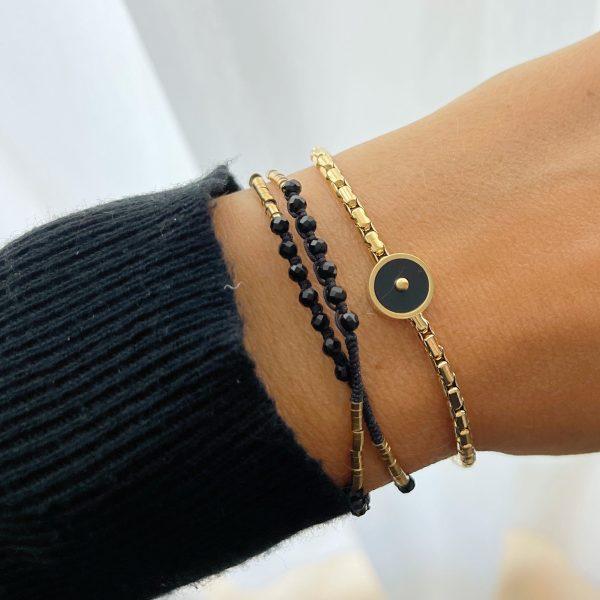 Made by Mila   Armband goud zwart dubbel - ZAG Bijoux 2