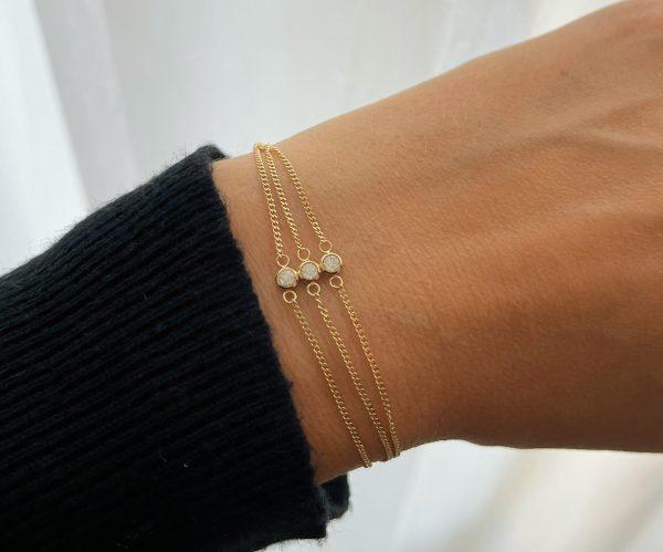 Made by Mila   Armband goud 3 dubbel zirkonia- ZAG Bijoux 2