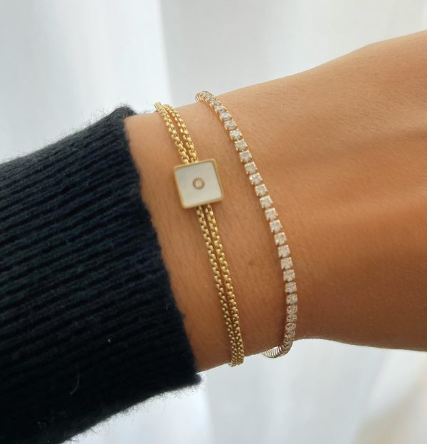 Made by Mila | Armband goud vierkant parelmoer- ZAG Bijoux 2