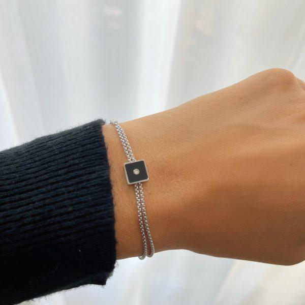 Made by Mila | Armband zilver vierkant onyx- ZAG Bijoux 2