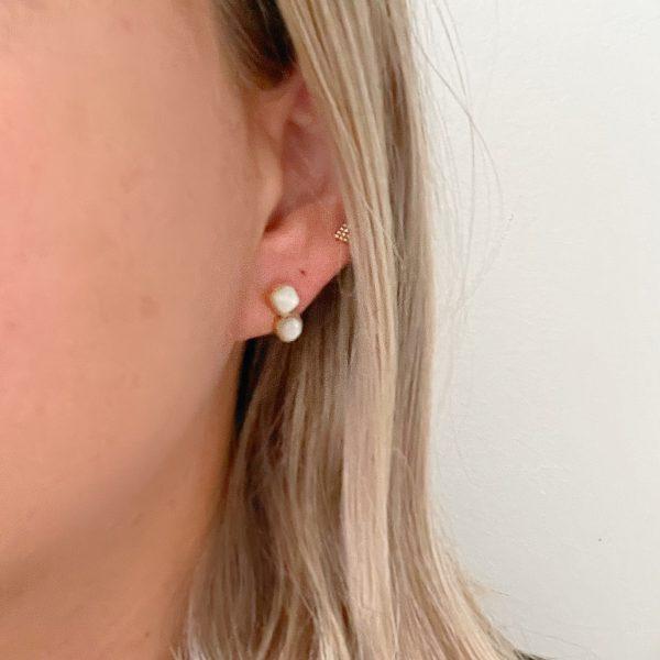 Made by Mila | Oorbellen goud met parelmoer steentjes- ZAG Bijoux 2