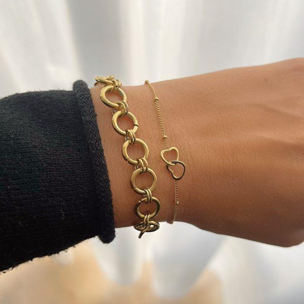 Made by Mila | Armband hearts goud- Go Dutch label 2